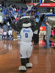 Drake mascot Spike the Bulldog mascot pumps up the crowd before a game.