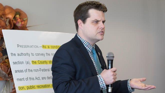 U.S. Rep. Matt Gaetz speaks during a public forum on Monday, Nov. 27, 2017, in Navarre.