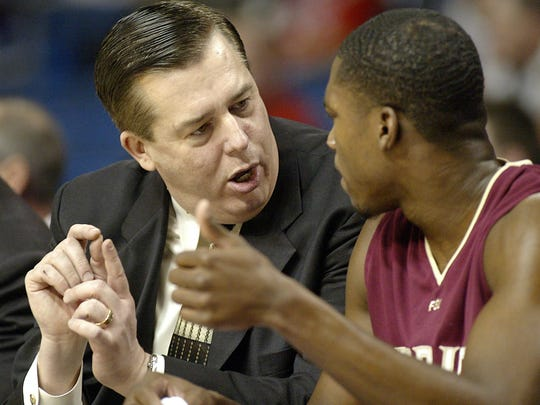 Stan Jones coaches Toney Douglas as Florida State defeats Clemson 67-66 during the first round of the ACC Tournament in Tampa, FL on Thursday March 8, 2007.