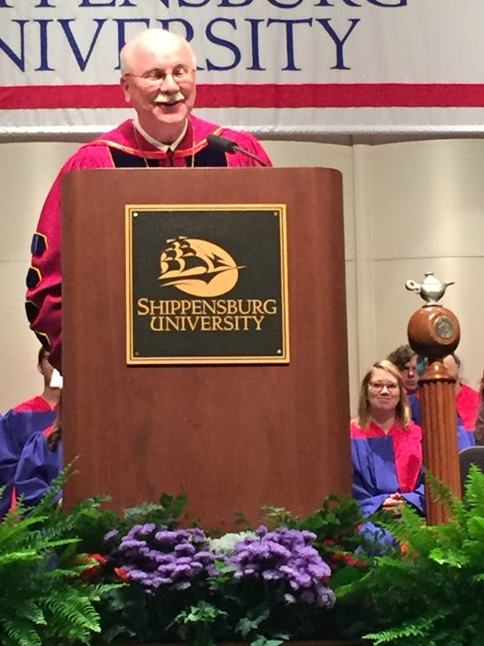 Dr. George Harpster gives his inaugural address Friday morning at the Luhrs Performing Arts Center. Harpster was inaugurated as Shippensburg University's 16th president.