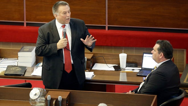 """Rep. Paul """"Skip"""" Stam, R-Wake, speaks on the House floor as North Carolina lawmakers considered a bill to prohibit local ordinances on discrimination in public accommodations or employment. It was directed at a Charlotte ordinance on LGBT rights."""