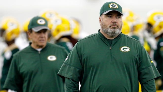 Packers coach Mike McCarthy is shown during Packers rookie orientation Friday, May 5, 2017.