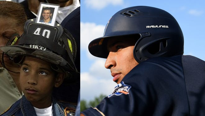 Skylar Mercado, who plays for the Birmingham Bloomfield Beavers of the USPBL, was 6 years old when his father, Steve, was killed saving lives at the World Trade Center.