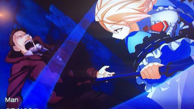 "Es, right, fends off a Union subject in one of the animated fighting sequences from ""XBlaze Code: Embryo."""