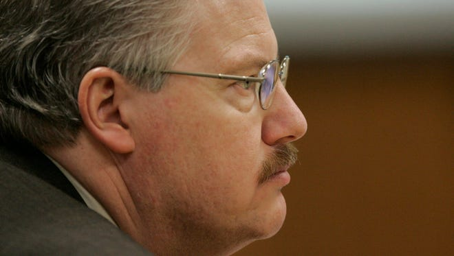 Calumet County District Attorney Ken Kratz listens to testimony at the Steven Avery trial in the courtroom at the Calumet County Courthouse on Feb. 16, 2007.
