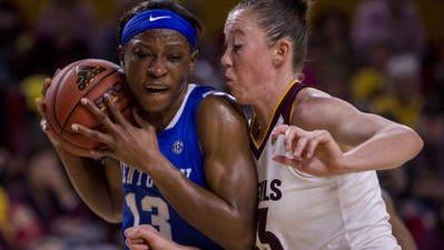 Eliza Normen, right, and her ASU women's basketball teammates will try again for their first win Saturday at SMU.