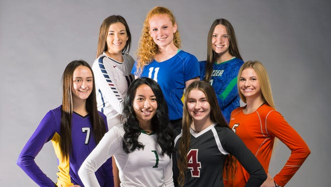 All-Arizona high school volleyball players. (LtoR, bottom row) McKenzie Wise of Sunrise Mountain, Kamaile Hiapo of Skyline, Peyton Lewis of Salpointe and Brooke Nuneviller of Corona del Sol. (LtoR, top row) Alexis Keith of Perry, Mary Shroll of Tempe Prep Academy and Lanie Wagner of Xavier College Prep.