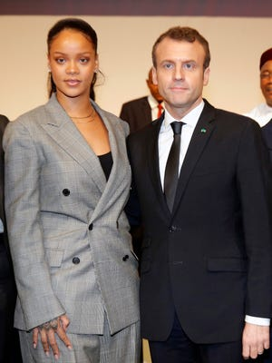 Singer Rihanna and French President Emmanuel Macron helped raise millions for education initiatives to combat extremism and fundamentalism in Africa.