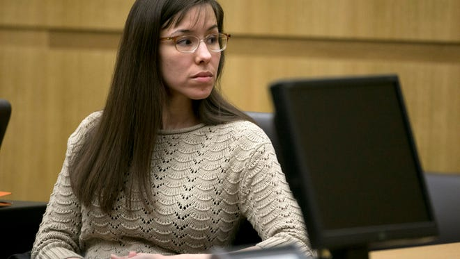 Jodi Arias is seen during her trial at Maricopa County Superior Court in Phoenix on Tuesday, April 2, 2013. Arias is on trial for the killing of her boyfriend, Travis Alexander, in 2008 in Mesa.