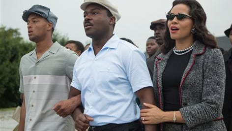 """This photo released by Paramount Pictures shows, David Oyelowo, center, as Martin Luther King, Jr. and Carmen Ejogo, right, as Coretta Scott King in the film, """"Selma,"""" from Paramount Pictures and Pathé. The Civil Rights march drama is up for eight NAACP Image Awards honoring diversity in the arts, including outstanding motion picture; lead actor for David Oyelowo; supporting actor for Andre Holland, Common and Wendell Pierce; supporting actress for Carmen Ejogo and Oprah Winfrey; and director for Ava DuVernay. The awards will be presented in a Feb. 6 ceremony airing on the TV One channel."""