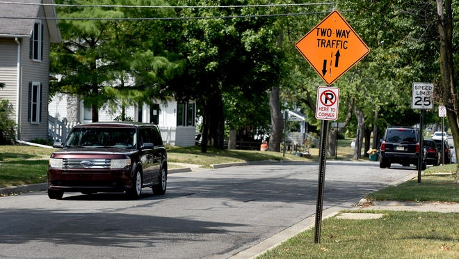 A sign indicates two-way traffic on W. Seventh Street in the City of Monroe. City council on Monday reviewed traffic counts, and speed and crash data for both W. Seventh and W. Eighth Sts., which were converted to two-way traffic last November.