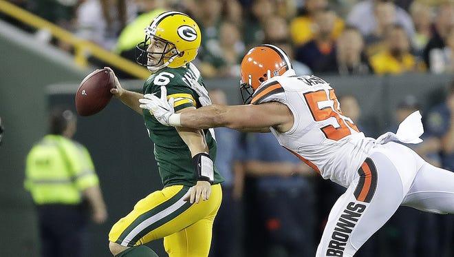 Green Bay Packers quarterback Joe Callahan (6) scrambles against the Cleveland Browns at Lambeau Field.