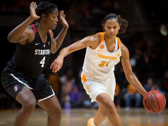 Tennessee's Jaime Named drives down the court during the first half against Stanford at Thompson-Boling Arena on Sunday.