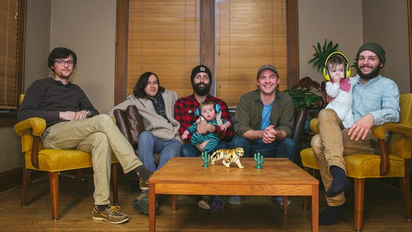 Sioux Falls indie rock band We All Have Hooks for Hands in 2018. From left to right: Logan Borchardt, Dave Lethcoe, Tory Stolen, Tony Helland, Eli Show.