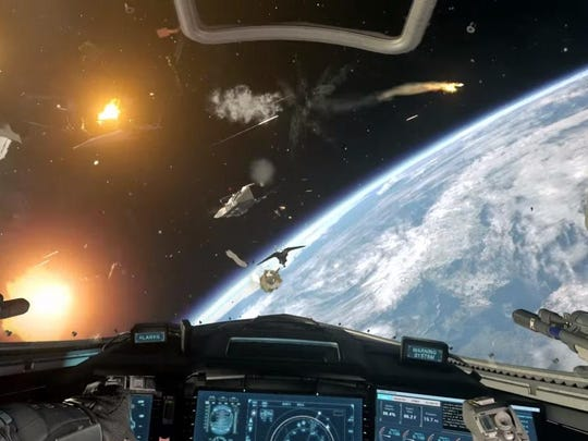 "Along with epic battles on the ground, ""Call of Duty: Infinite Warfare"" lets players hop into a spacecraft and fly off to continue the combat in the darkness of space — a first for the franchise."