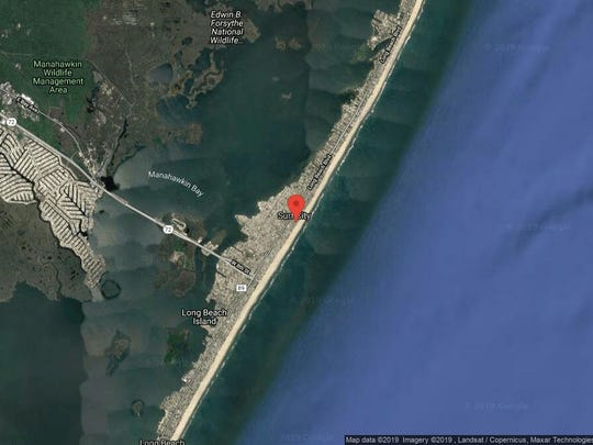 This aerial photo shows the approximate location of 1013 N. Ocean Ave. in Surf City. The property at this address changed hands in September 2019, when the new owners bought the property for $3,200,000.
