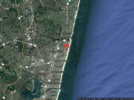 This aerial photo shows the approximate location of 1101 Ocean Ave, Unit 902 in Asbury Park. The property at this address changed hands in September 2019, when the new owner bought the property for $2,154,000.