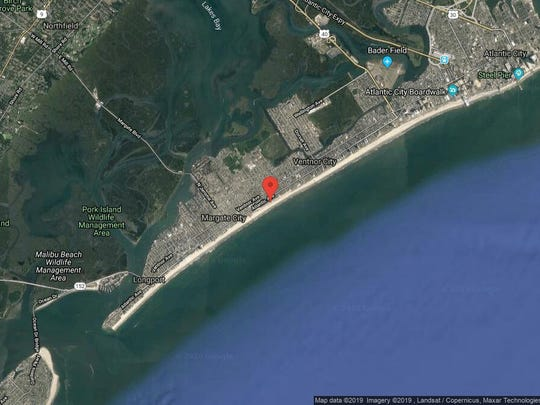 This aerial photo shows the approximate location of 110 S. Washington Ave. in Ventnor City. The property at this address changed hands in October 2019, when the new owner bought the property for $2,617,500.