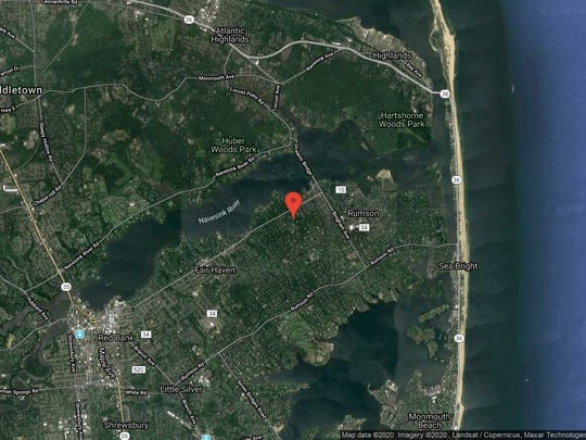 This aerial photo shows the approximate location of 7 Bellevue Ave. in Rumson. The property at this address changed hands in December 2019, when the new owner bought the property for $1,500,000.