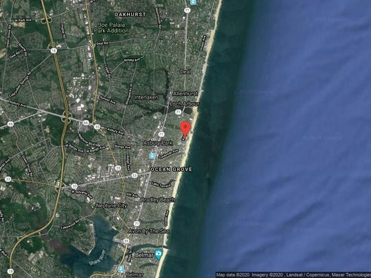 This aerial photo shows the approximate location of 1101 Ocean Ave, Unit 1602 in Asbury Park. The property at this address changed hands in January 2020, when the new owner bought the property for $2,655,000.