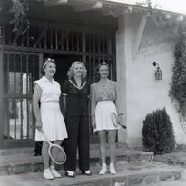 Ilona Massey, Betty Nuthall, and Alice Marble at the Tennis Club.
