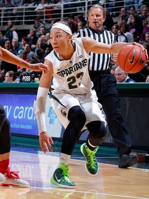 Michigan State's Aerial Powers, right, is one of the top prospects in Thursday's WNBA draft.
