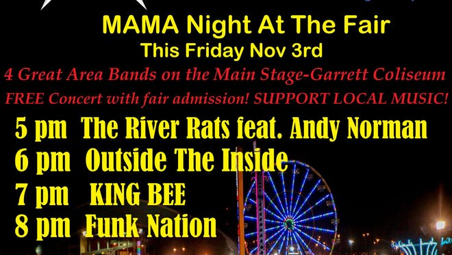 MAMA Night at the Alabama National Fair is Friday with the River Rats, OTI< King Bee and Funk Nation.
