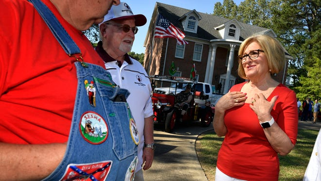Diane Black joined with other top-tier gubernatorial and Senate candidates at the West Tennessee Strawberry Festival parade. This is just a taste of what the campaign season will be like this summer leading up to the Aug. 2 primary. Friday May 11, 2018, in Humboldt , Tenn.