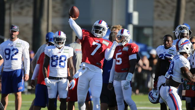 Rookie quarterback Cardale Jones makes a throw  during training camp. The Ohio State product is expected to get the majority of snaps at Detroit.