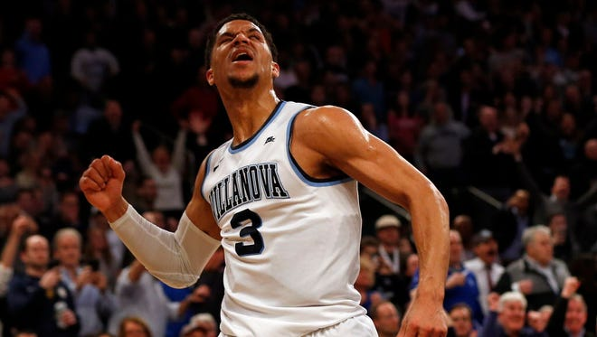 Villanova guard Josh Hart (3) reacts after making a basket late in the second half against Seton Hall.