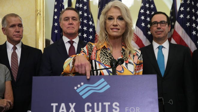 WASHINGTON, DC - White House Counselor Kellyanne Conway at a tax news conference with other Republicans, Washington, D.C., Nov. 7, 2017.