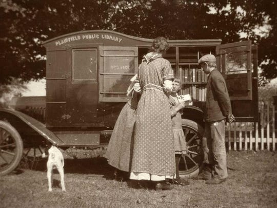 In 1916, the Plainfield Public Library had the first bookmobile -- a library mounted on the chassis of a Ford automobile that visited residents of rural areas.