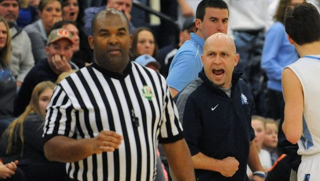 Adena's Jason Smith is shown during a regular season contest against Zane Trace this past year. Smith resigned from his head boys basketball coach position after five years at the helm of the program.