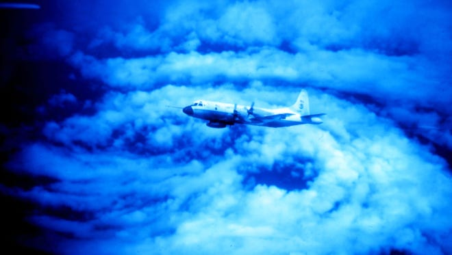 Bad weather can cause dreaded air turbulence. This aircraft is flying in the eye of Hurricane Caroline in 2001.