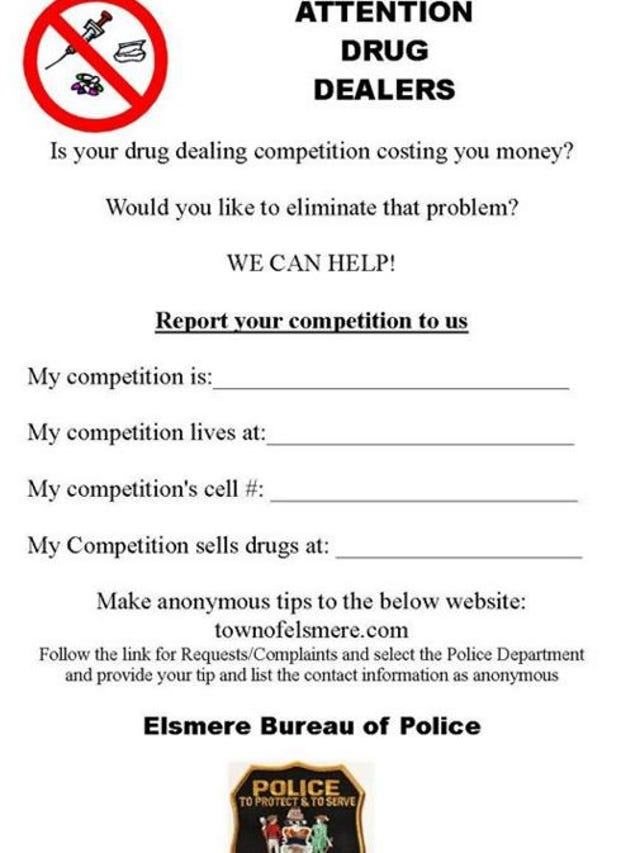 Elsmere police ask drug dealers to snitch on each other