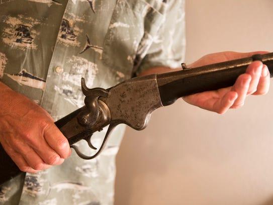 Charlie DeVille's Civil War era Spencer rifle at his
