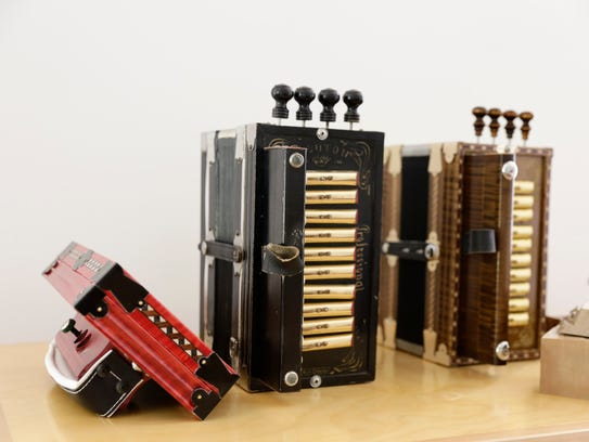Accordions made by Moisey Baudoin and Shine Mouton