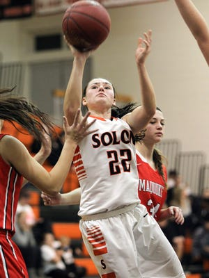 Solon's Sydney Lawson takes a shot during the Spartans' game against Maquoketa on Tuesday, Jan. 12, 2016.
