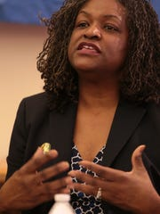 Ivy Bailey, DFT, Interim speaks to the media during a Press conference to announced that the Detroit Federation of teachers along with  American Federation of Teachers sues Detroit Public Schools, Emergency Manager, over school conditions, on Thursday, Jan. 28, 2016.