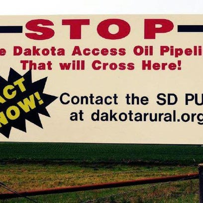 The first Dakota Rural Action billboard opposing the Dakota Access Oil Pipeline has been placed west of Hartford along Highway 38.