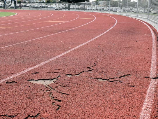 A section of lane 8 is in deteriorating condition at