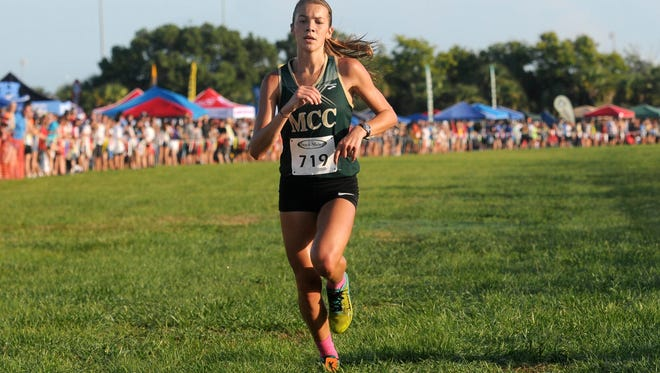 Amanda Beach of Melbourne Central Catholic is pictured winning the Astronaut Invitational earlier in the fall of 2016