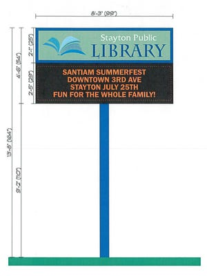 "Plans for the new electronic reader board include replacing the old Chase Bank logo with ""Stayton Public Library"""