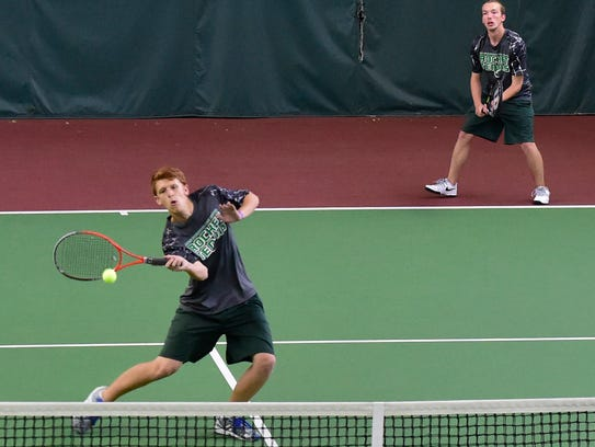James Buchanan's Jalen Ayers, left, and doubles partner
