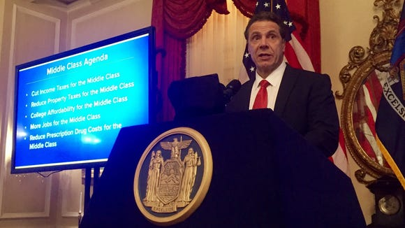 Gov. Andrew Cuomo briefs members of the press on his $152.3 billion state budget proposal at the executive mansion in Albany on Tuesday, Jan. 17, 2017.