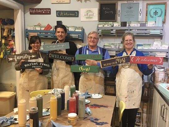 The sign-making workshop at Hudson Valley Vintage is