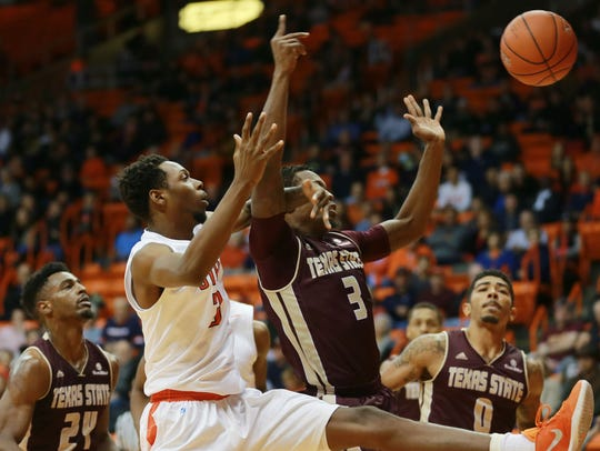 UTEP's Brodricks Jones battles Texas State's Cameron
