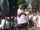 Rigo Gonzalez address protesters at a rally at the