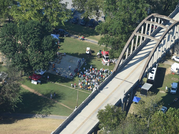 Seen from an Air Evac helicopter lying above the event,