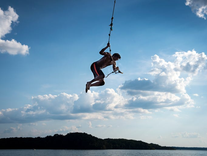 Aubrey Barron, of Shelbyville, swings into Percy Priest